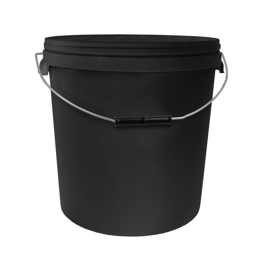 20L Round Black Bucket with Metal Handle & Lid