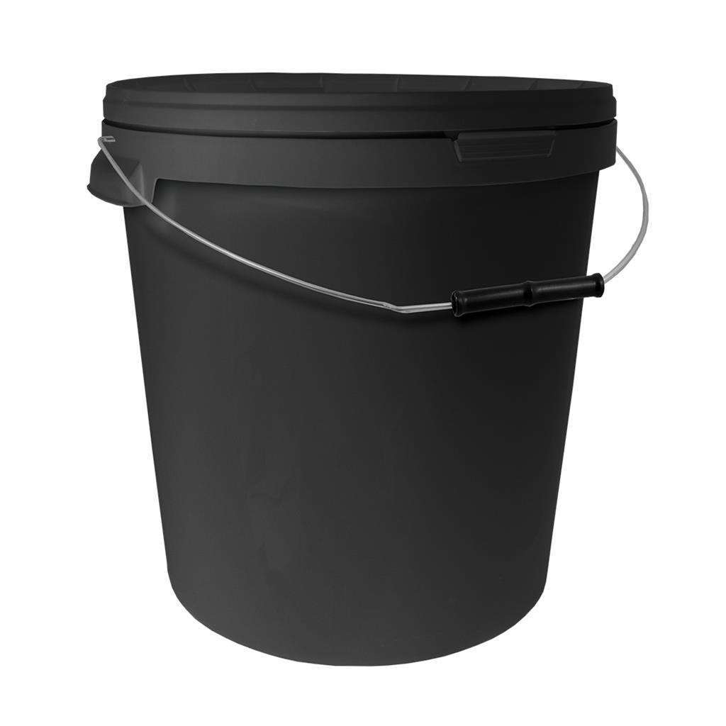 33L Round Black Bucket with Metal Handle & Lid