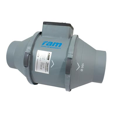 RAM Mixed-Flow Inline Fan - 100mm with UK Lead